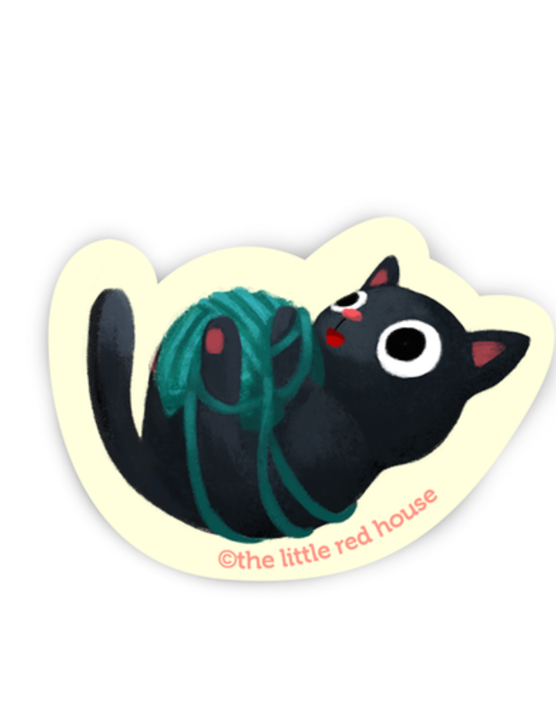 The Little Red House Sticker Black Cat