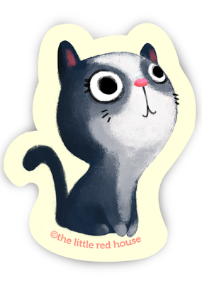 The Little Red House Sticker Grey Cat