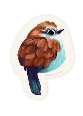 The Little Red House Sticker Racket Tailed Roller