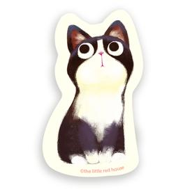 The Little Red House Sticker Tuxedo Cat