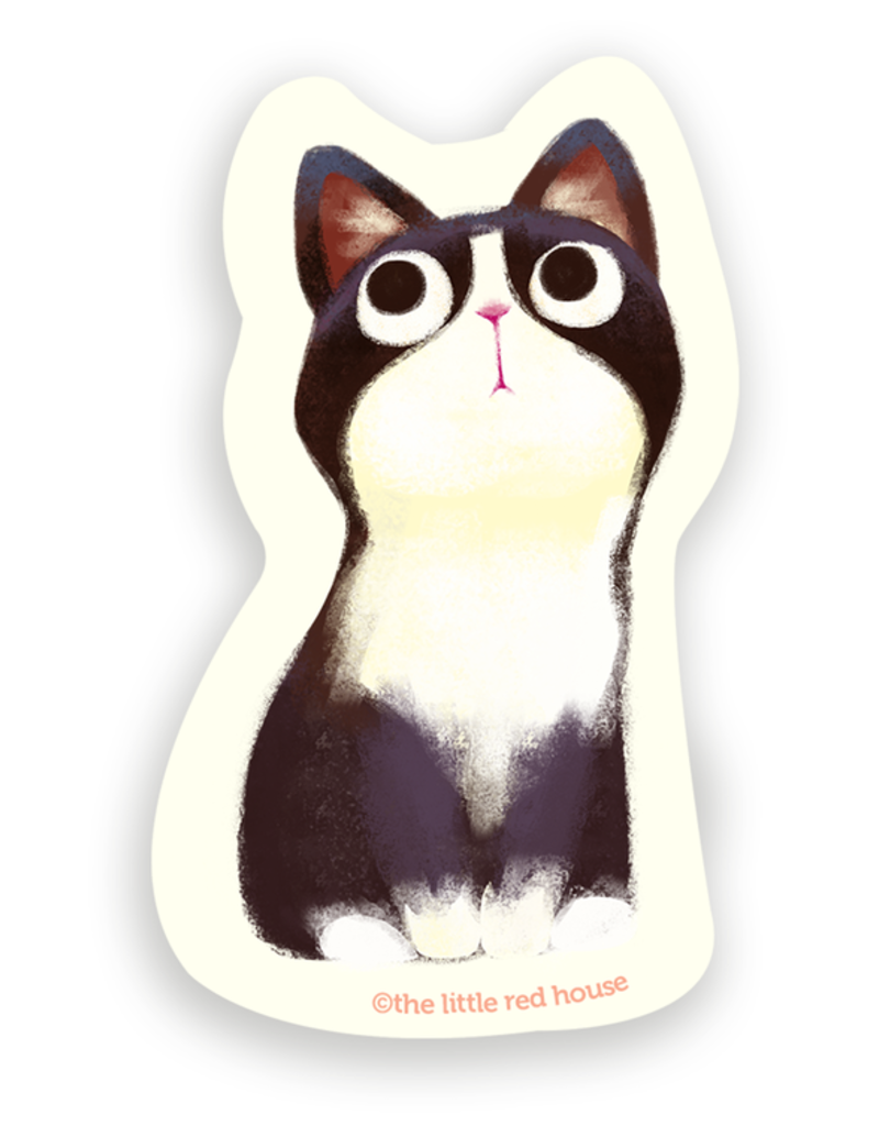 The Little Red House Sticker Tuxedo Cat