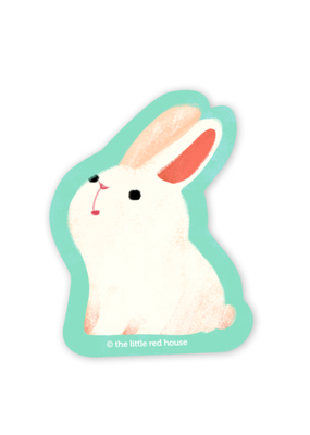 The Little Red House Sticker White Bunny
