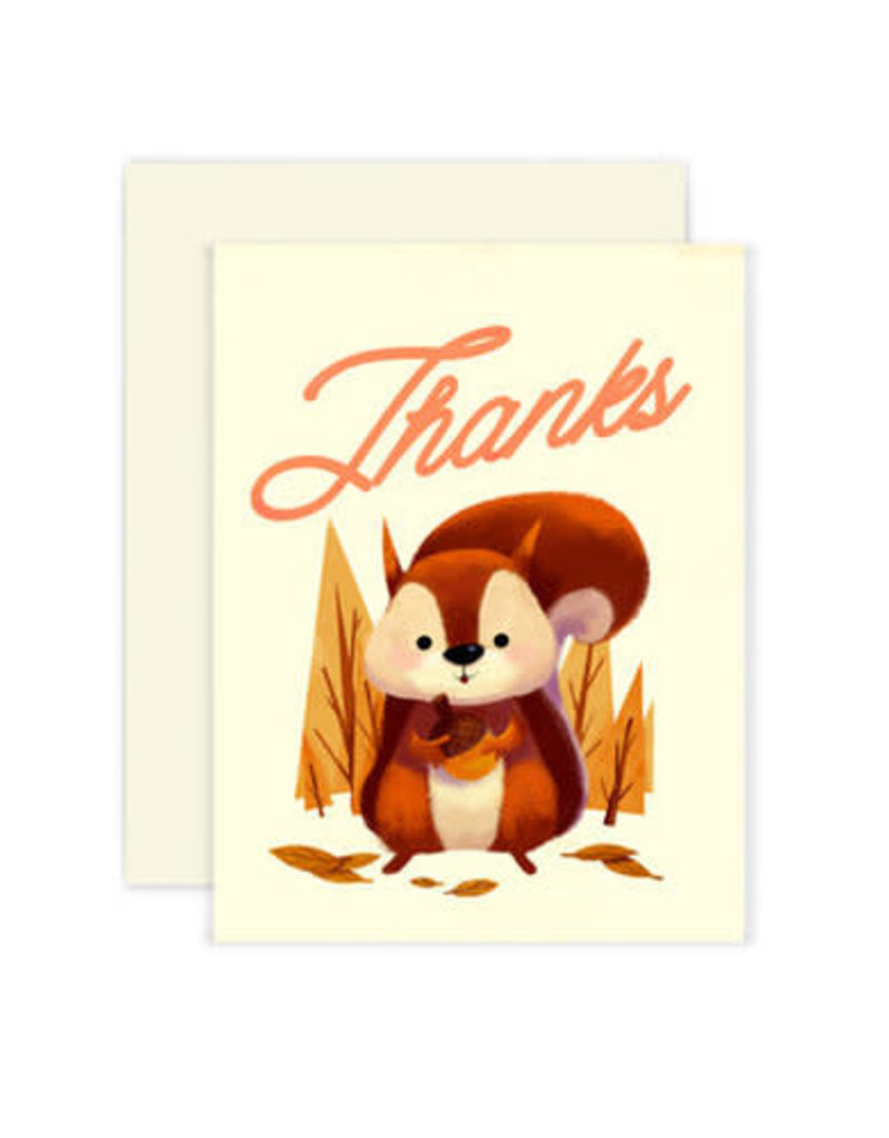 The Little Red House Card Squirrel Thank You