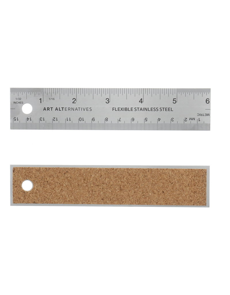 Art Alternatives Ruler Steel Flexible Cork Back 6 Inch