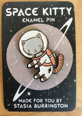 Stasia Burrington Enamel Pin Space Kitty White