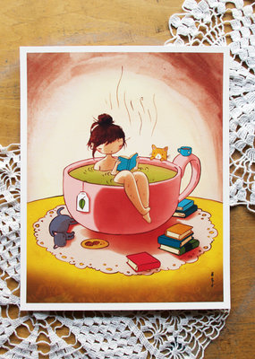 Stasia Burrington Card Cozy Tea Bath Girl