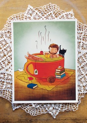 Stasia Burrington Card Cozy Tea Bath Boy
