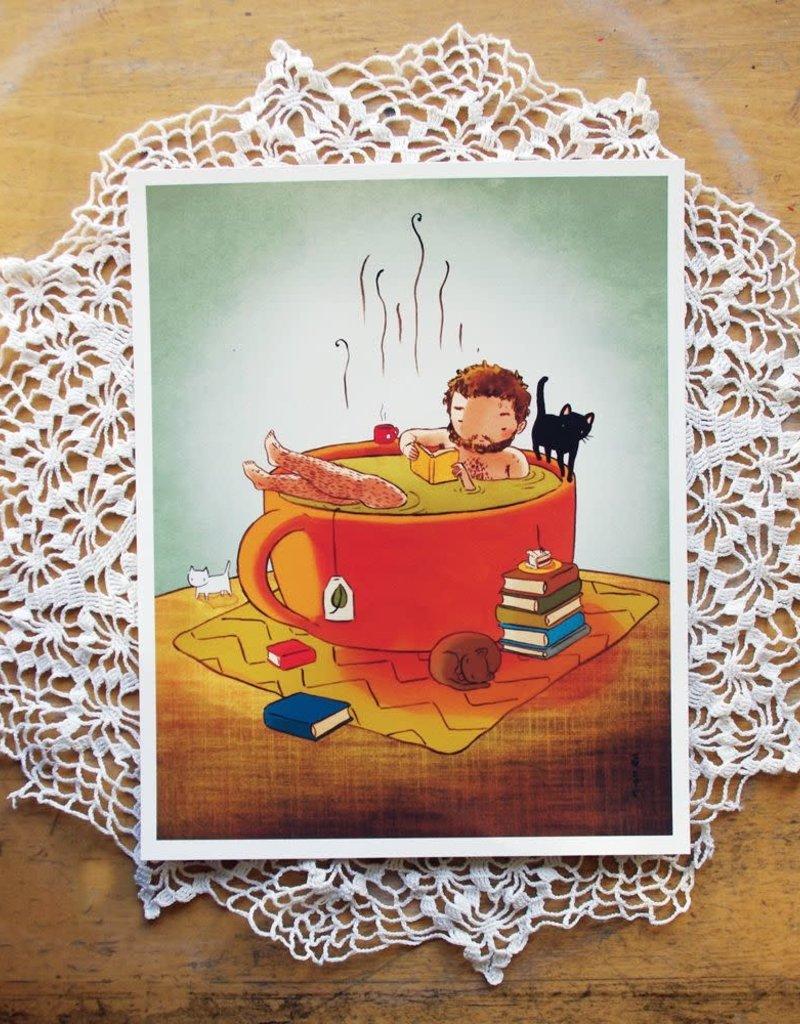 Stasia Burrington Card Cozy Tea Bath Boy