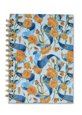 Good Juju Ink Spiral Notebook Poppies and Ribbon