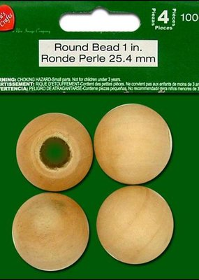 "Lara's Lara's Wood Round Bead 1"" 4pc"