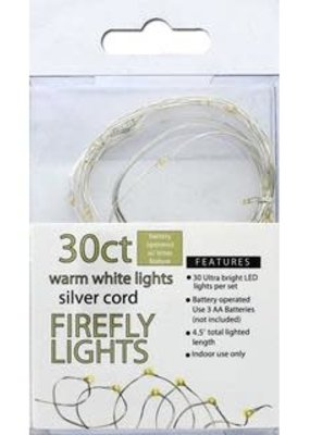 Sierra Pacific Crafts Lights Firefly 30ct With Timer Warm White/Silver Cord