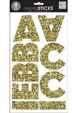 American Crafts Stickers Alpha Chunky Glitter Gold