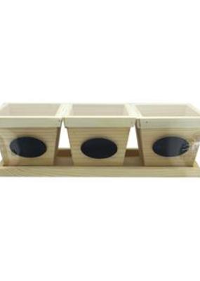 Sierra Pacific Crafts Wood Flowerpots with Chalkboard Label