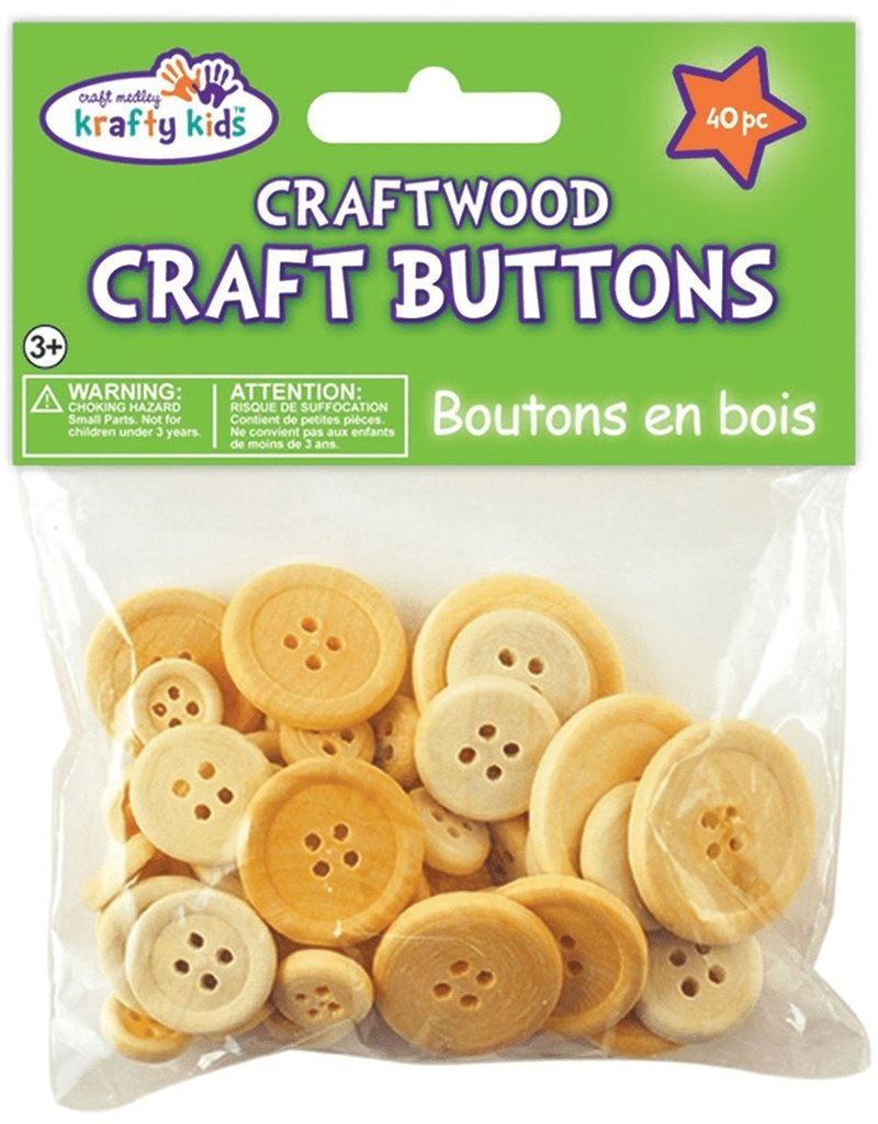 Multicraft Multicraft Craftwood Button Natural 40pc