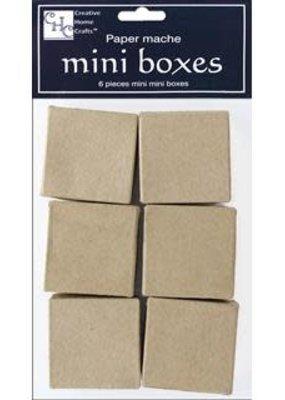 PA Paper Mache Box Bitty Package Square Kraft 6 Piece