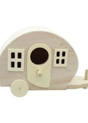 Sierra Pacific Crafts Wood Birdhouse Camper Natural