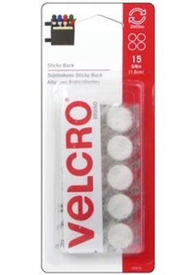 Velcro Velcro Sticky Back Coin 5/8 Inch White 15 Piece