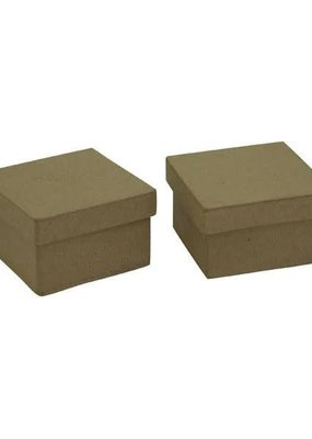 Paper Accents PA Paper Mache Box Mini Square Kraft