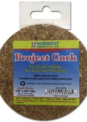 Midwest Design Midwest Cork Circle 3.75 x 1/8 inch 6 piece
