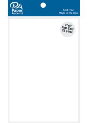 "Paper Accents Paper Accents Card Cardstock Post Card 4""x 6"" White 25pc"