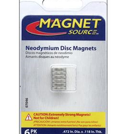 The Magnet Source Magnet Neodymium Disc 1/2 Inch 6 Piece Pack
