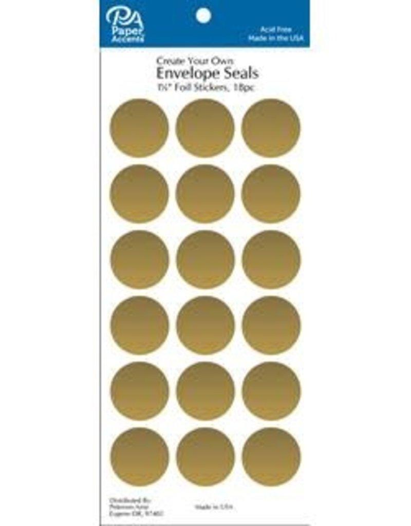 Paper Accents Envelope Seals 1 1/8 Inch 18 Piece Gold Foil