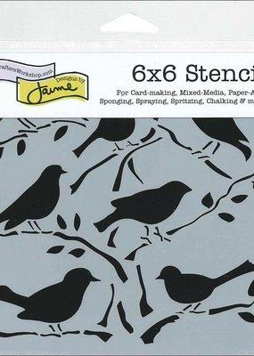 The Crafter's Workshop 6 X 6 Stencil Birds