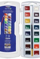 Prang Prang Semi-Moist Watercolors 16-Color Half Pan Set with Brush