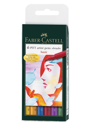 Faber-Castell Pitt Brush Pen Basic Set Of 6