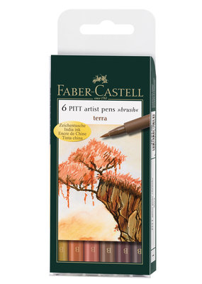 Faber-Castell Pitt Artist Brush Pen Set Of 6 Terra