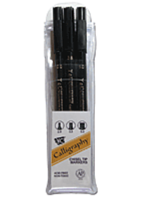 Yasutomo Calligraphy Marker Set 3 Sizes Black