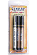 Yasutomo 3-Color Metallic Calligraphy Marker Set 2mm chisel nibs