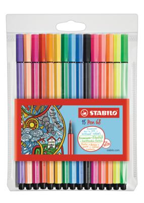 Stabilo Stabilo Pen 68 Wallet Set of 15 Neon Colors