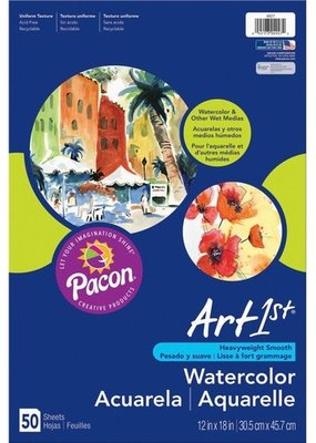 Pacon Watercolor Paper Pad 12 x 18 90 Pound 50 Sheets