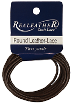 Realeather Lace Leather Round 2 mm x 72 Inch Brown