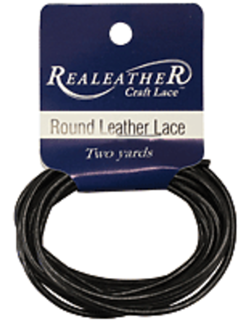 Realeather Lace Leather Round 2 mm x 72 Inch Black