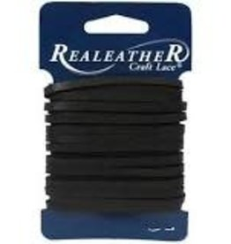 Realeather Leather Lace 1/8 Inch x 4 yard Black