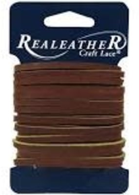 Realeather Leather Lace 1/8 Inch x 4 Yard Medium Brown