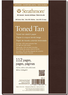 Strathmore Strathmore Softcover Tan Toned Art Journal 400 Series 5.5 x 8 Inch