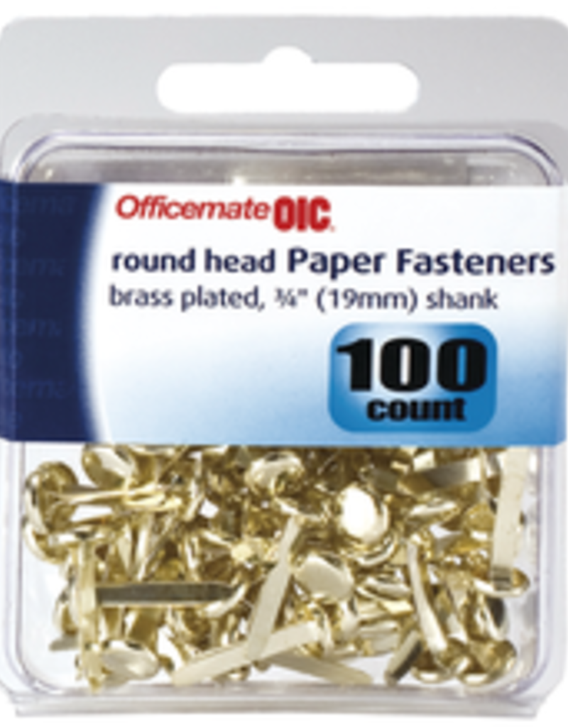 Officemate Brads Brass Fasteners 100