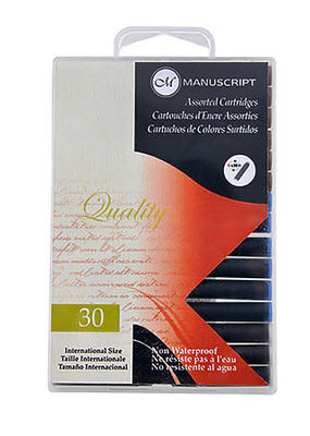 Manuscript Calligraphy Ink Black Cartridge 12 Piece Pack