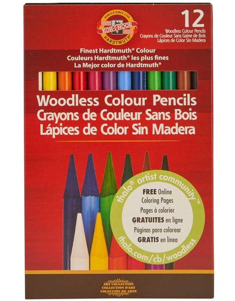 Koh-I-Noor Progresso Woodless Colored Pencils 12 Color Set