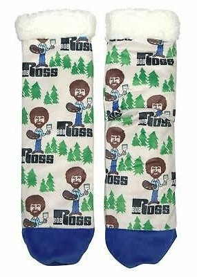 Cozy Bob Ross Sherpa Socks All Happy Trees Medium/Large