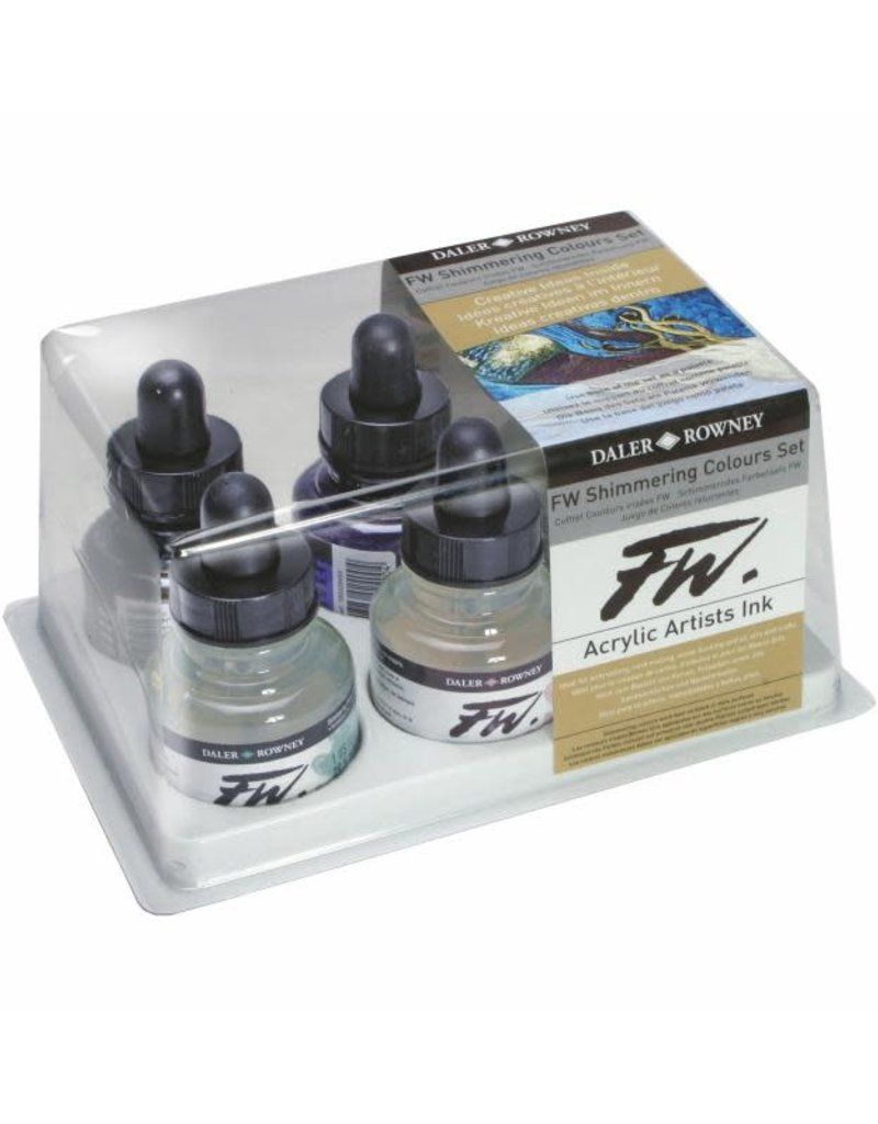 Daler-Rowney FW Acrylic Ink Shimmering Colors Set of 6