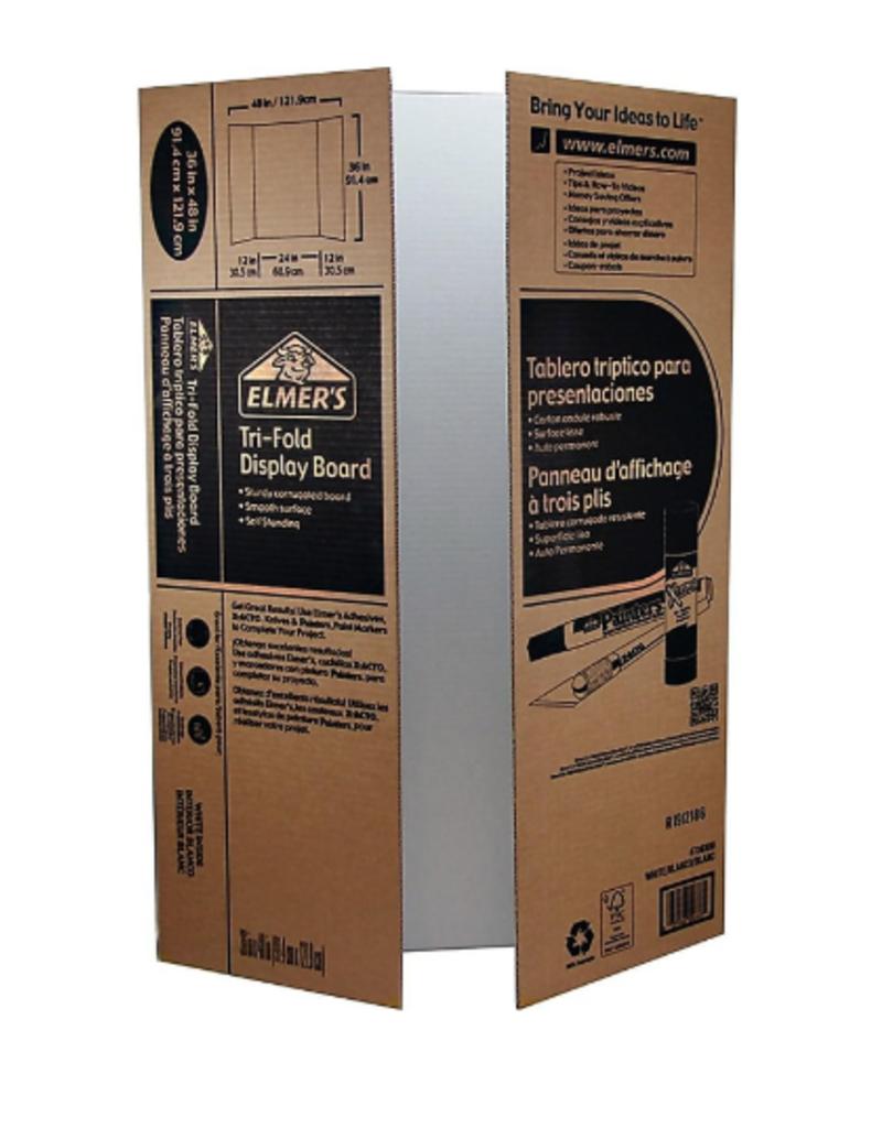 "Elmer's Elmer's Display Board Tri-Fold Corrugated 36""x 48"" White"