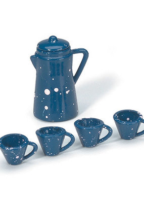 Timeless Minis Mini Coffee Pot with Cups Blue 6 Piece Set