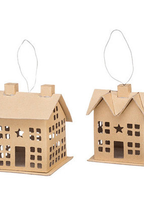 Darice Paper Mache Houses with Wire Hanger 3.5 Inches