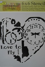 The Crafter's Workshop 6 X 6 Stencil Love to Fly
