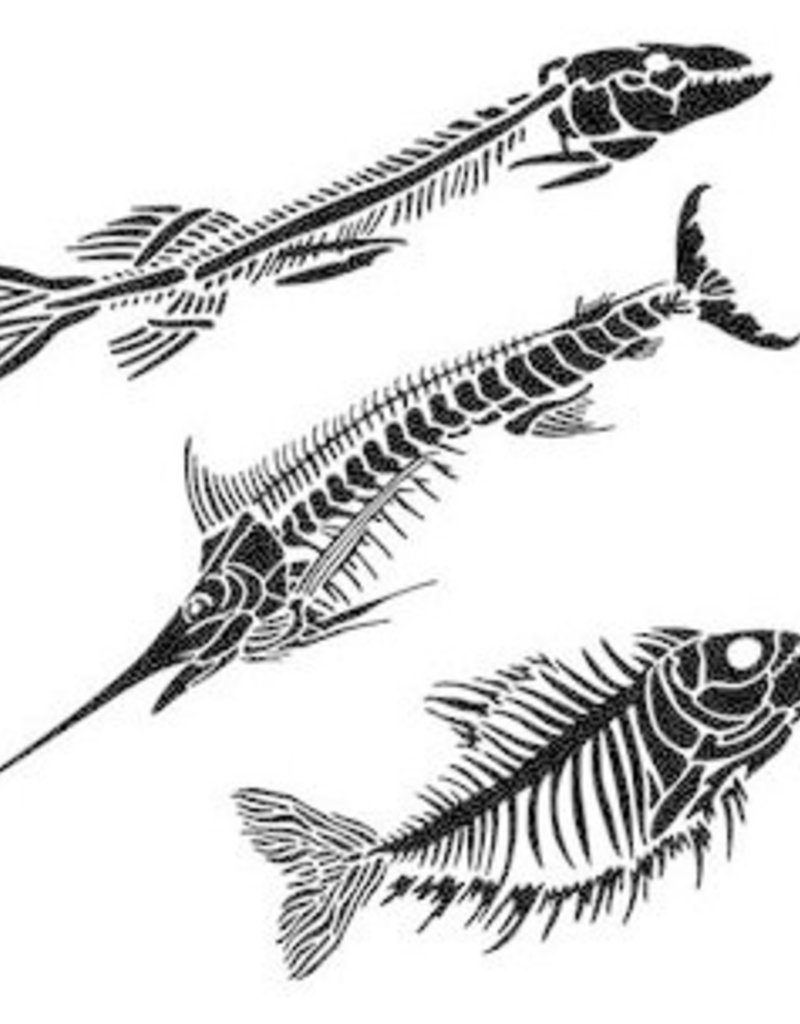 The Crafter's Workshop 6 X 6 Stencil Fish Fossils