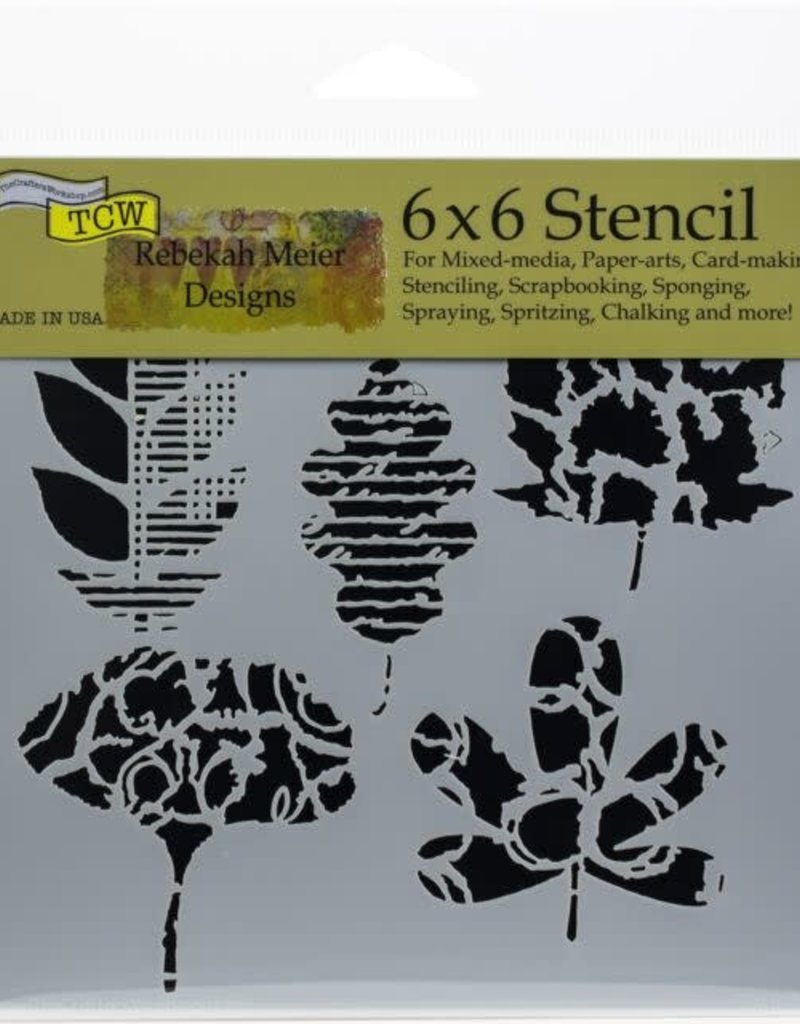 The Crafter's Workshop 6 X 6 Stencil Leaf Collection